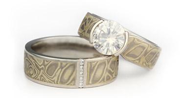 artsy wedding rings. shop for mokume-gane rings artsy wedding i
