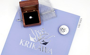 diamond ring in custom jewelry box with brochure and certificate