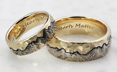 carved mountain wedding bands - custom mountain