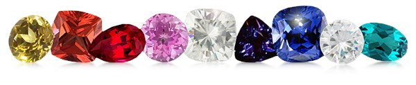 lab created gemstones including sapphires and rubies and moissanite