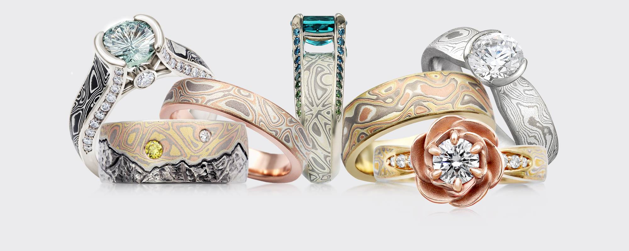 custom mokume-gane engagement rings and wedding bands