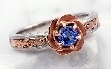 vintage rose engagement ring with blue natural sapphire