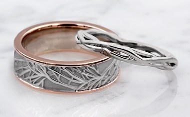 tree branch wedding ring set