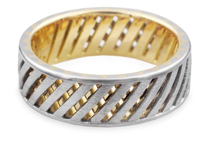 designer mens ring - two-tone lattice wedding band