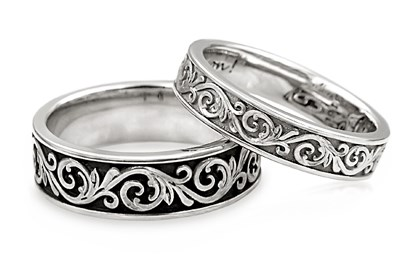 designer floral wedding bands