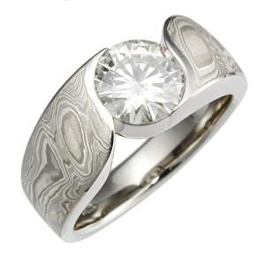 Moissanite Mokume Wave Engagement Ring
