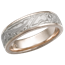 White Mokume Wedding Band with Rose Gold Liner