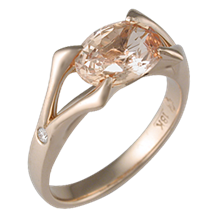 Carved Branch Unique Engagement Ring in Rose Gold
