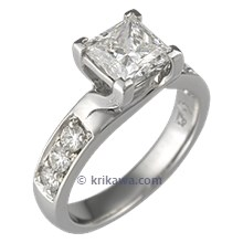 Carved Vine Engagement Ring with Firemark Princess Cut Diamond
