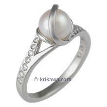 Artistic Diamond Orbit Engagement Ring with Pearl