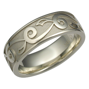 Unique Eternity Vine and Leaf Wedding Band