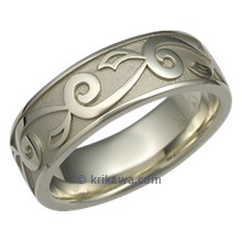 Delicate Leaf Mens Wedding Ring in Green Gold