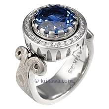 Queen of One Luxury Engagement Ring with Blue Sapphire