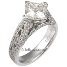 Darkened Mokume Cathedral Diamond Accent Engagement Ring