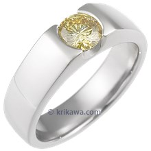 Modern Flush Stone Engagement Ring with Yellow Diamond