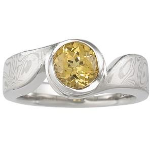 Mokume Swirl Solitaire Engagement Ring with Yellow Sapphire