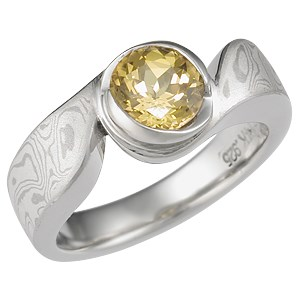 Mokume Swirl Solitaire Engagement Ring with Yellow Sapphire