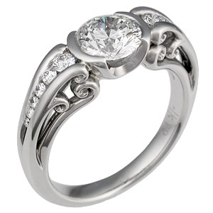 Carved Curls Unique Engagement Ring with Tapering Stones