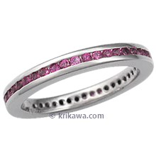Pink Sapphire Channel Eternity Wedding Band