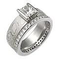Mokume Princess Solitaire Engagement Ring and Diamond Wedding Band