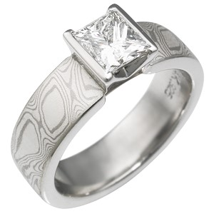 Mokume Princess Solitaire Engagement Ring