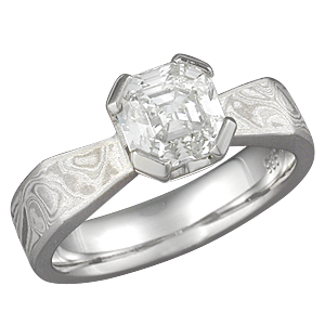 Asscher Diamond in Mokume Angled Taper Engagement Ring