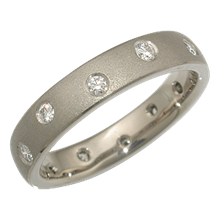 Scattered Diamond Wedding Band in White Gold