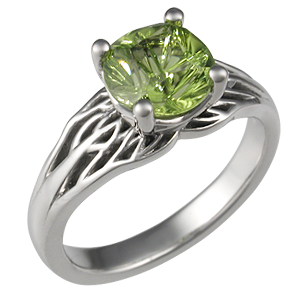 Tree of Life Unique Engagement Ring with Peridot