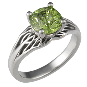 tree of unique engagement ring with peridot