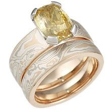 Mokume Solitaire Engagement Ring with Yellow Sapphire