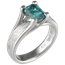 Mokume Wing Engagement Ring with Emerald