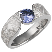 White Mokume Wave Engagement Ring with Blue Sapphire
