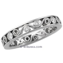 Millegrained Curls Diamond Wedding Band