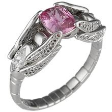 Dragonfly Engagement Ring with Pink Sapphire