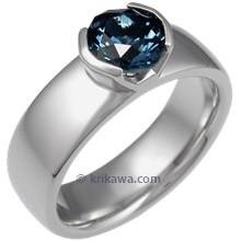 Modern Straight Tapered Head Engagement Ring with Designer Cut