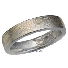 Champagne Mokume Wedding Band with High Polish and Etch