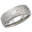 Platinum Mokume Wedding Band with Light Etch