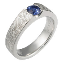 Platinum Mokume Flush Stone Engagement Ring with Blue Sapphire