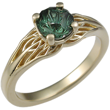 Tree of Life Engagement Ring with Designer Cut Tourmaline