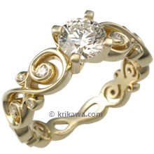 Contemporary Infinity Engagement Ring with Diamonds in Yellow Gold