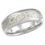 Winter Mokume Wedding Band with Wide Edges, Matte, Light Etch