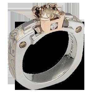 Mokume Falling Water Engagement Ring
