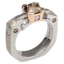 Champagne Mokume Falling Water Engagement Ring