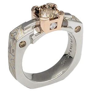 Champagne Mokume Falling Water Engagement Ring