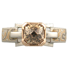 Champagne Mokume Falling Water Engagement Ring  - top view