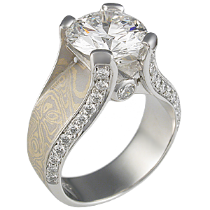Juicy Light Engagement Ring with Sahara Mokume