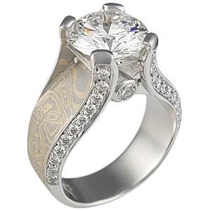 Juicy Light Engagement Ring with Sahara Mokume