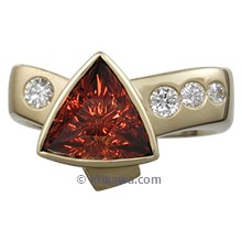 Modern Crossover Engagement Ring with Spessartite Garnet