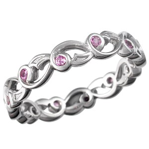 Delicate Leaf Wedding Band with Pink Sapphires