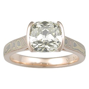 Trigold Mokume Cathedral Solitaire Engagement Ring